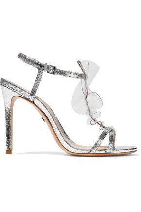 SCHUTZ Zaryah PVC-trimmed metallic cracked-leather sandals
