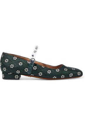ALEXACHUNG Crystal-embellished PVC-trimmed floral-jacquard Mary Jane flats