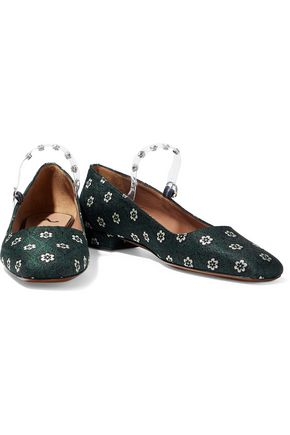 bb8f1076d915 ALEXACHUNG Crystal-embellished PVC-trimmed floral-jacquard Mary Jane flats