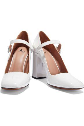6fa397fad8e1ac ... ALEXACHUNG Crystal-embellished patent-leather Mary Jane pumps ...