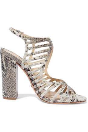 SCHUTZ Qamar cutout snake-effect leather sandals