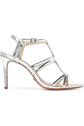 SCHUTZ Cutout mirrored-leather sandals
