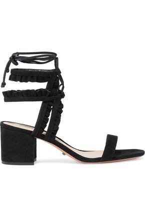 SCHUTZ Yaren ruffle-trimmed suede sandals