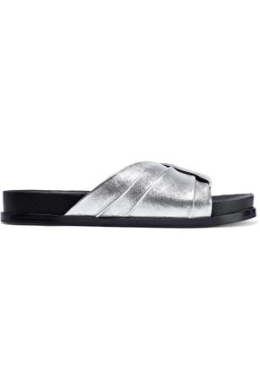 SIGERSON MORRISON Amanda pleated metallic leather slides