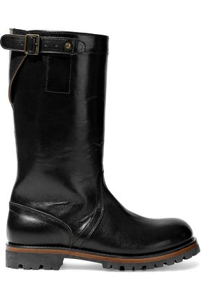 ANN DEMEULEMEESTER Buckled glossed-leather boots