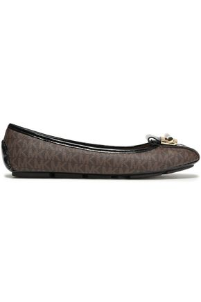 MICHAEL MICHAEL KORS Embellished patent and faux leather-paneled ballet flats