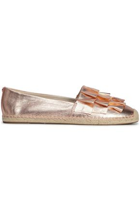 MICHAEL MICHAEL KORS Ruffled metallic leather espadrilles