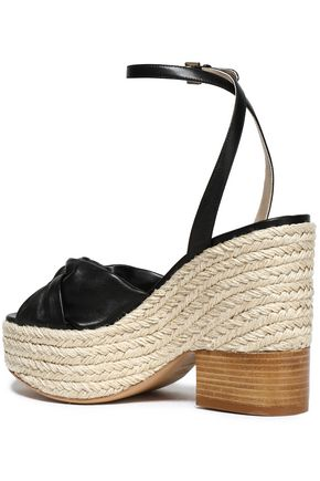 MICHAEL KORS COLLECTION Knotted leather espadrille wedge sandals