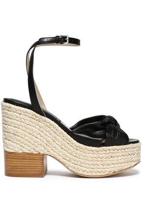 MICHAEL KORS | Michael Kors Collection Knotted Leather Espadrille Wedge Sandals | Goxip