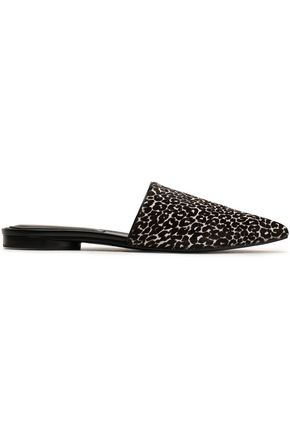 MICHAEL KORS COLLECTION Leopard-print calf hair slippers