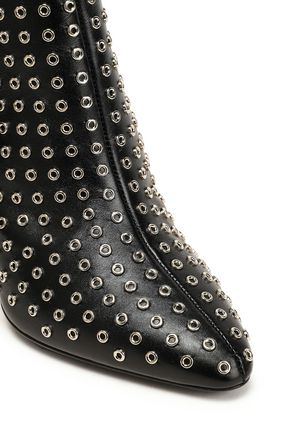 MICHAEL KORS COLLECTION Eyelet-embellished leather ankle boots