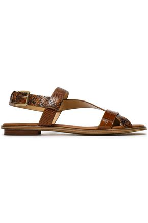 MICHAEL MICHAEL KORS Croc and snake-effect leather sandals