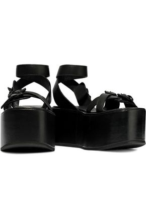 ANN DEMEULEMEESTER Buckle-detailed leather platform sandals