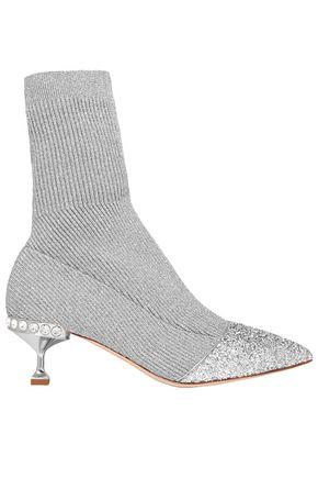 MIU MIU Glittered crystal-embellished metallic ribbed-knit sock boots
