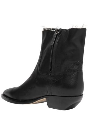 SAINT LAURENT Theo frayed textured-leather ankle boots