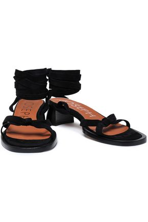 JOSEPH Shoestring knotted suede sandals