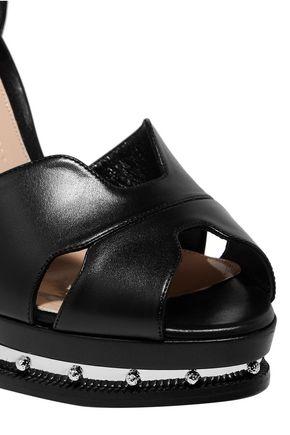 ALEXANDER MCQUEEN Embellished leather platform sandals