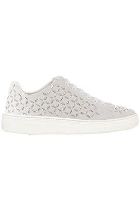 ALAÏA Embellished suede sneakers