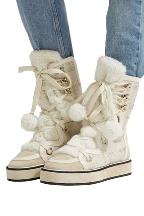 NICHOLAS KIRKWOOD Kira suede, faux shearling and metallic tweed snow boots