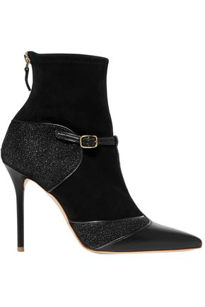 MALONE SOULIERS Sadie suede, leather and Lurex boots