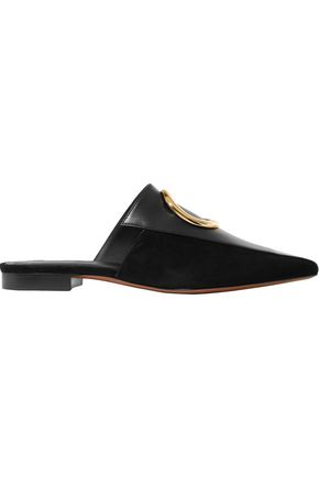 NEOUS Phaius embellished leather and suede slippers