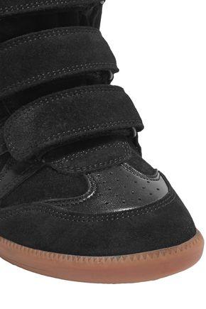 6c1c3f382ae ... ISABEL MARANT Bekett leather-trimmed suede wedge sneakers ...