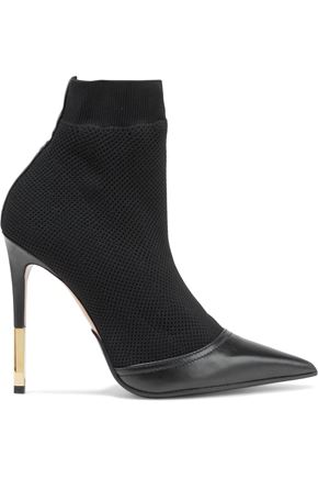 BALMAIN Aurore leather-trimmed stretch-knit ankle boots