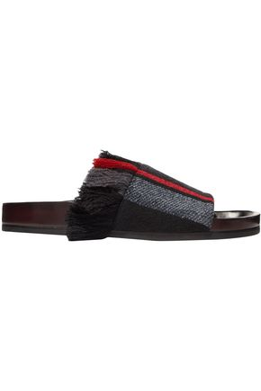 CHLOÉ Kerenn fringed striped jacquard slides
