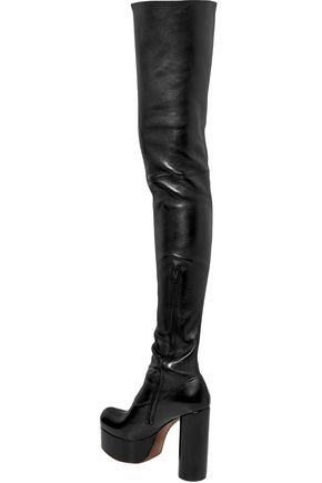 VETEMENTS Leather platform thigh boots