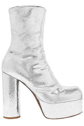 VETEMENTS Metallic textured-leather platform ankle boots