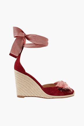 AQUAZZURA Lotus Blossom fringed bow-embellished suede wedge espadrilles