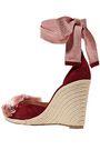 AQUAZZURA Lotus Blossom fringed bow-embellished suede wedge espadrilles