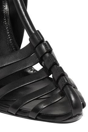 SAINT LAURENT Ines leather collapsible-heel sandals