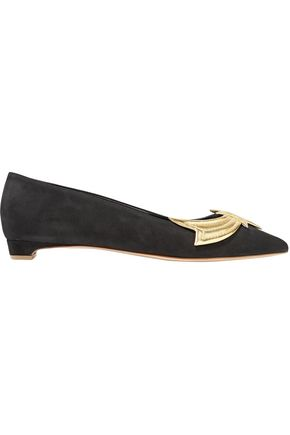 RUPERT SANDERSON Ablaze metallic leather-appliquéd suede point-toe flats