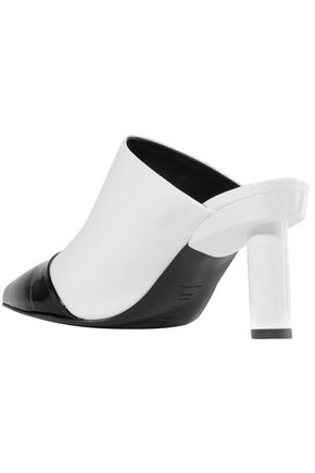 TIBI Liam two-tone crinkled patent-leather mules