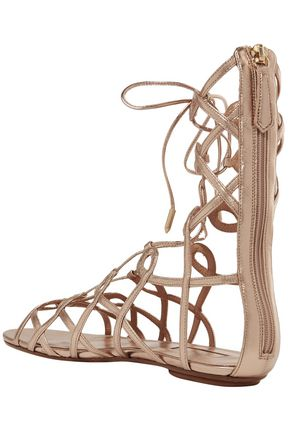 AQUAZZURA Mumbai lace-up metallic leather sandals