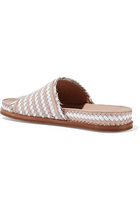 SIGERSON MORRISON Two-tone woven leather slides