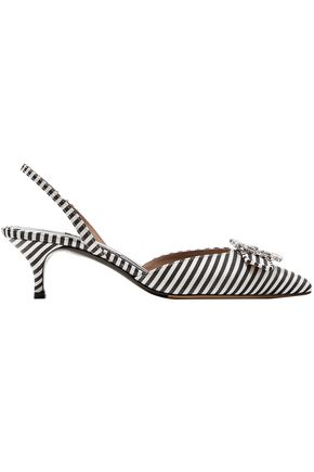 TABITHA SIMMONS Bells crystal-embellished striped canvas slingback pumps