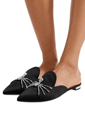 AQUAZZURA Crystal-embellished satin slippers