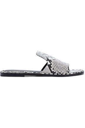 SIGERSON MORRISON Estee studded snake-effect leather slides