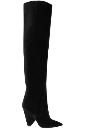 SAINT LAURENT Niki velvet over-the-knee boots