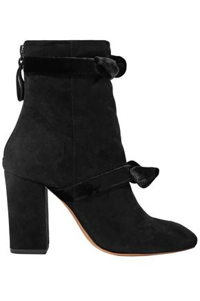 ALEXANDRE BIRMAN Lorraine velvet-trimmed suede ankle boots