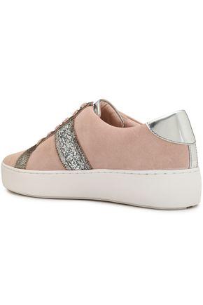 MICHAEL MICHAEL KORS Metallic-trimmed glittered suede sneakers