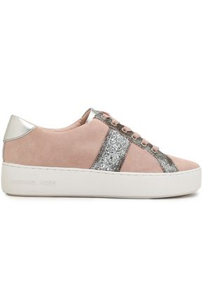MICHAEL MICHAEL KORS Metallic-trimmed glittered suede sneakers