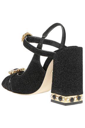 DOLCE & GABBANA Bette crystal-embellished Lurex slingback sandals