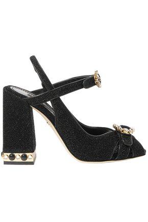 3c82b4d2e58 DOLCE   GABBANA Bette crystal-embellished Lurex slingback sandals