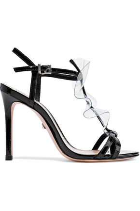 SCHUTZ Zaryah PVC-trimmed patent-leather sandals