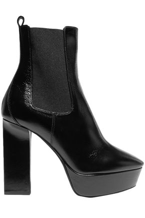 SAINT LAURENT Vika glossed-leather platform ankle boots