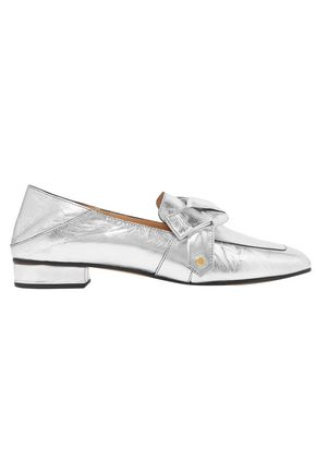 CHLOÉ Quincey collapsible-heel metallic leather loafers