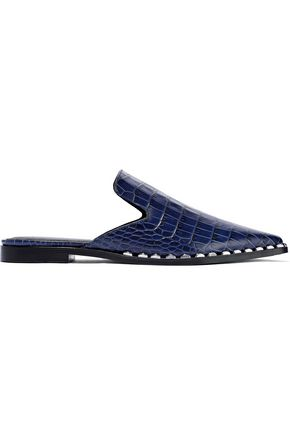 SIGERSON MORRISON Elana studded croc-effect leather slippers